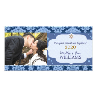 Blue Damask Couple's First Christmas Photo Card