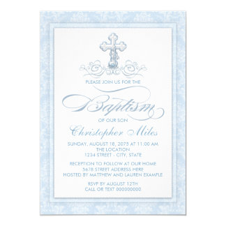Blue Damask Cross Baptism Card