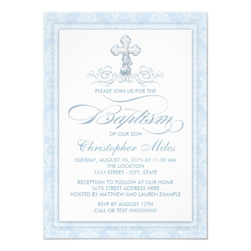 Blue Damask Cross Baptism Invitation