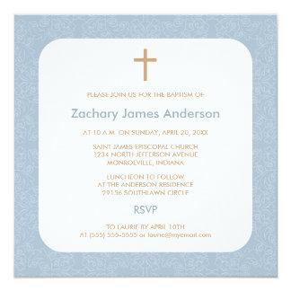 Blue Damask & Cross Baptism Invitations