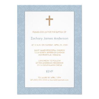 Blue Damask Cross Baptism Invitations