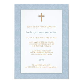"Blue Damask & Cross Baptism Invitations 4.5"" X 6.25"" Invitation Card"