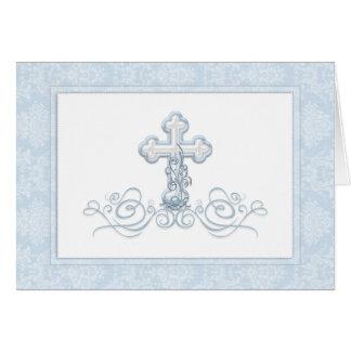 Blue Damask Cross Baptism Thank You Cards