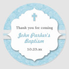 Blue Damask cross boy baptism christening favor Classic Round Sticker