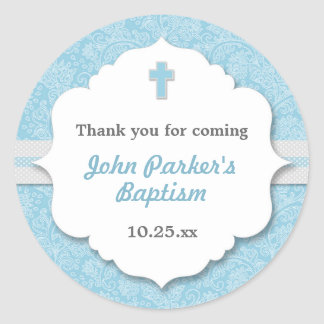 Blue Damask cross boy baptism christening favor Classic Round Sticker