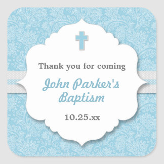 Blue Damask cross boy baptism christening favor Square Sticker