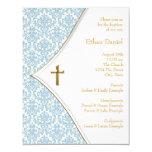 Blue Damask Cross Boy Baptism Christening 4.25x5.5 Paper Invitation Card