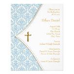 Blue Damask Cross Boy Baptism Christening Invites
