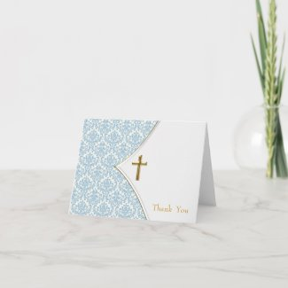 Blue Damask Cross Boy Baptism Thank You Cards card