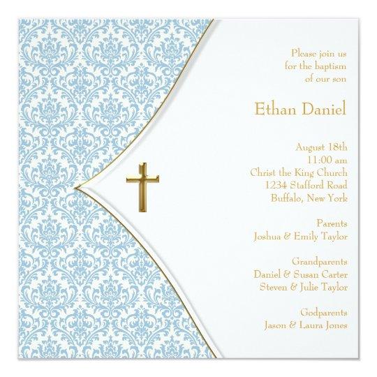 Blue Damask Cross Boy Christening Card