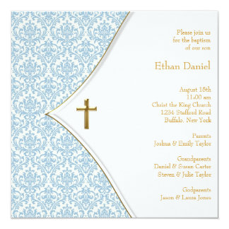 Blue Damask Cross Boy Christening Personalized Announcements