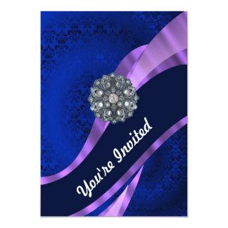 Blue damask & crystal card