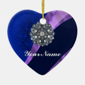 Blue damask & crystal ceramic ornament