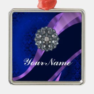 Blue damask & crystal metal ornament