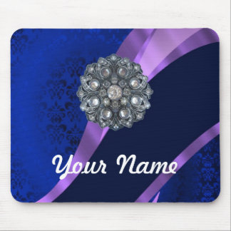 Blue damask & crystal mouse pad