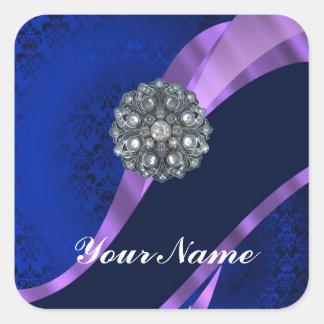 Blue damask & crystal square sticker