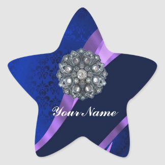 Blue damask & crystal star sticker