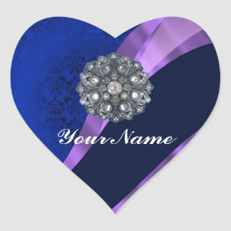 Blue damask & crystal heart sticker