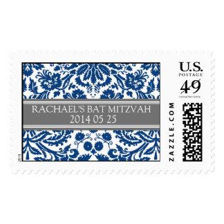 Blue Damask Custom Name Bat Mitzvah Stamps
