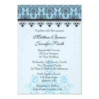 "Blue Damask Custom Wedding Invitation 5"" X 7"" Invitation Card"