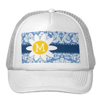 Blue Damask; Daisy Mesh Hat