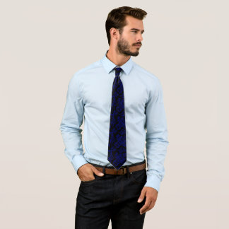 Blue damask decor neck tie