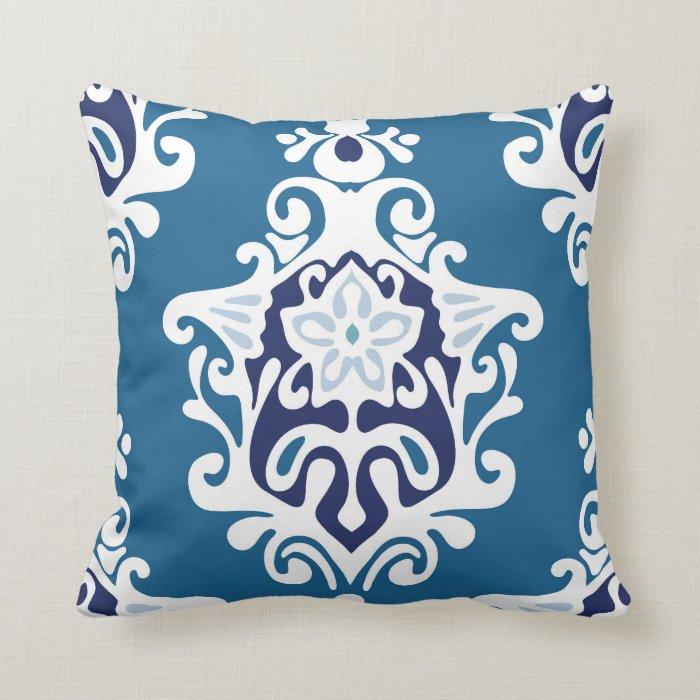 Blue Damask Decorative Pillow Zazzle