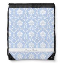 Blue Damask Drawstring Backpack with Custom Name