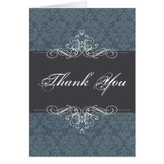 Blue Damask Elegant Thank You Notecard