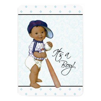 Blue Damask Ethnic Baby Boy Shower Card