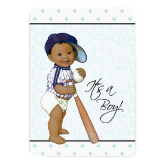 Blue Damask Ethnic Baby Boy Shower Card