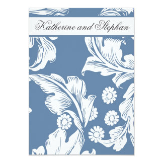 blue damask floral anniversary invitations