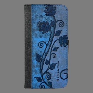 Blue Damask Floral iPhone 6 Plus Wallet Case