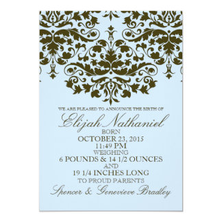 "Blue Damask Formal Introduction Birth Announcement 5"" X 7"" Invitation Card"