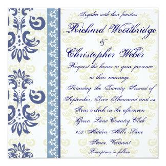 Blue Damask Gay Wedding Invitations