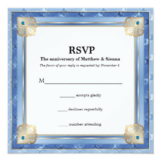 Blue damask gold twist card