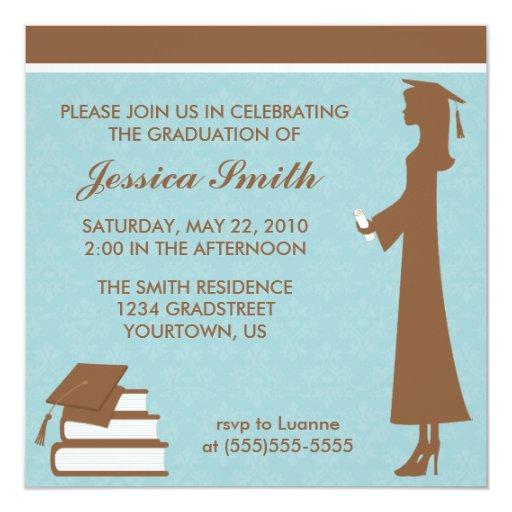 Blue Damask Graduation Card
