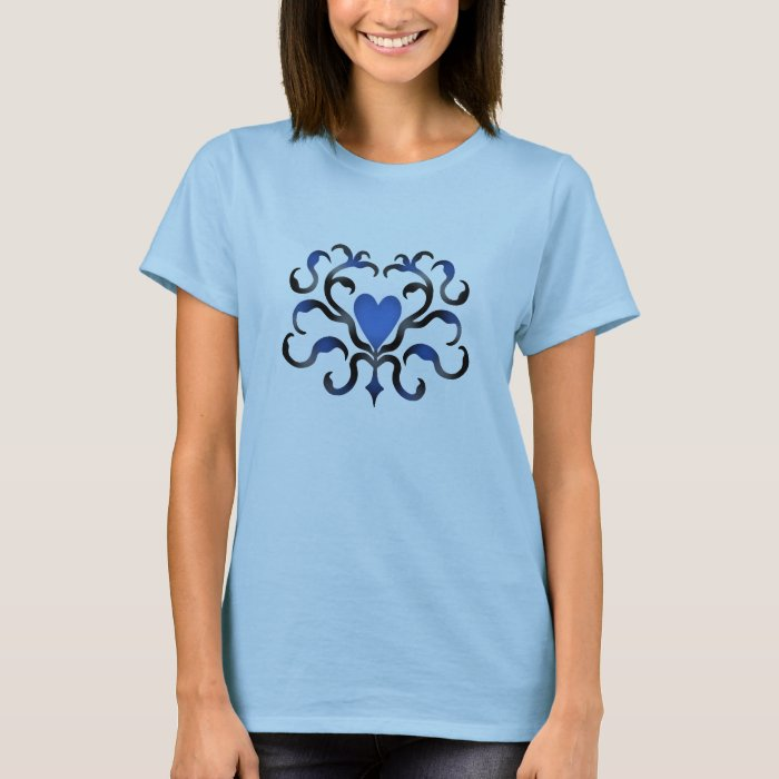 Blue damask heart T-Shirt