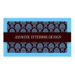 Blue Damask Interior Design Business Card