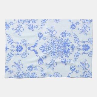 Blue Damask Kitchen Towels