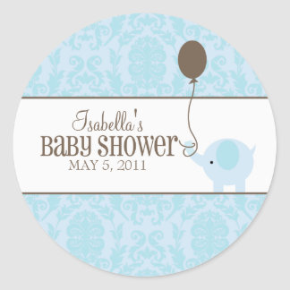 Blue Damask   Labels Classic Round Sticker