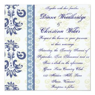 Blue Damask Lesbian Wedding Invitations
