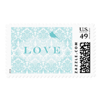 Blue Damask Love Birds Postage