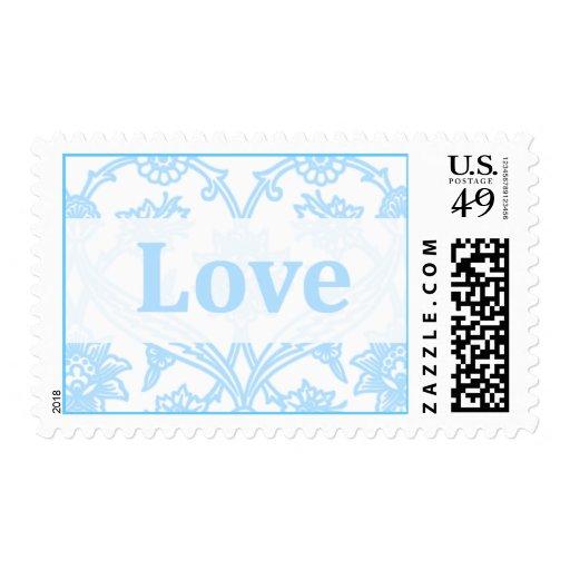 Blue Damask Love Wedding Postage Stamps