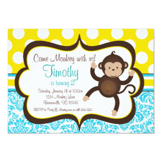 Blue Damask Mod Monkey Boys Birthday Party Invite