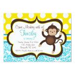 "Blue Damask Mod Monkey Boys Birthday Party Invite 5"" X 7"" Invitation Card"