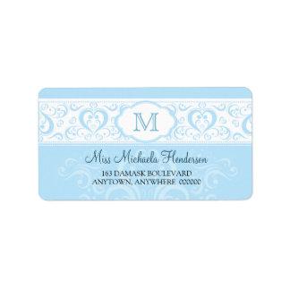 Blue Damask Monogram Address Label