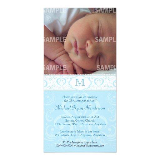 Blue Damask Monogram Baptism/Christening Photo Card