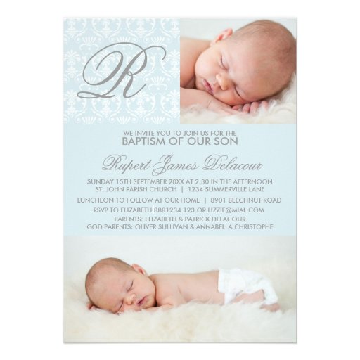 Blue Damask Monogram Baptism Photo Invitation