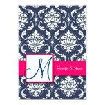 Blue Damask Monogram Invitations Pink 5 x 7